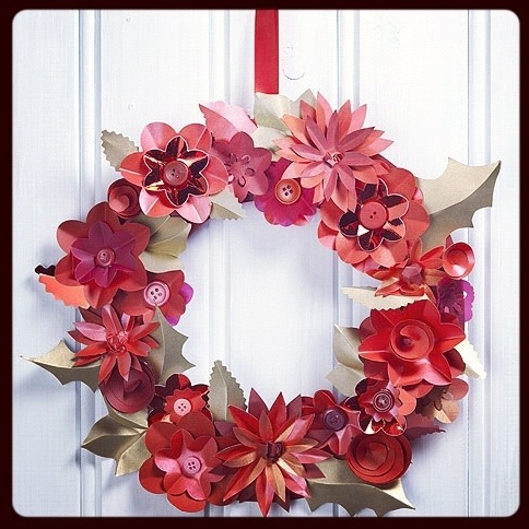 Make christmas paper flower wreath sewyeah make christmas paper flower wreath mightylinksfo