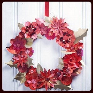make: christmas paper flower wreath