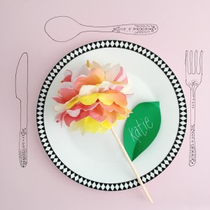 make: paper napkin flower place settings